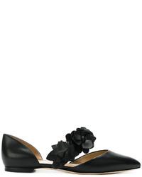 Ballerines en cuir à fleurs noires Tory Burch