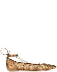 Ballerines en cuir dorées Casadei