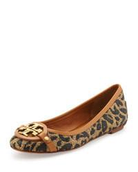 Ballerines en cuir imprimées léopard marron clair