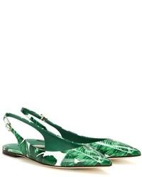 Ballerines en cuir imprimées vertes Dolce & Gabbana