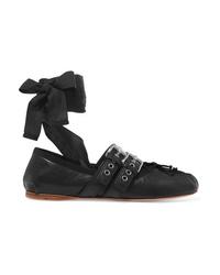 Ballerines en cuir noires Miu Miu