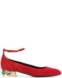 Ballerines en cuir ornées rouges Casadei