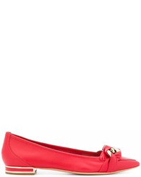 Ballerines en cuir rouges Casadei
