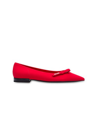Ballerines en cuir rouges Prada