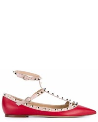 Ballerines en cuir rouges Valentino