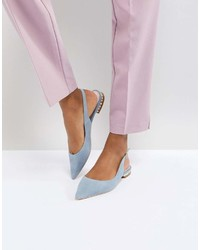 Ballerines en daim bleu clair Dune London
