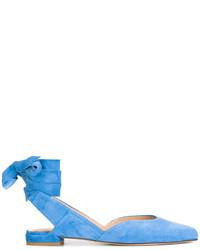 Ballerines en daim bleu clair Stuart Weitzman