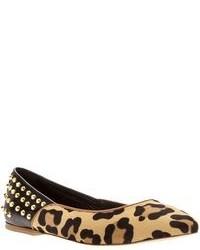 Ballerines en daim imprimées léopard marron clair