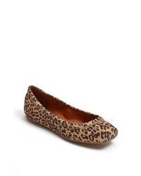 Ballerines en daim imprimées léopard marron