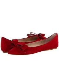 Ballerines en daim rouges