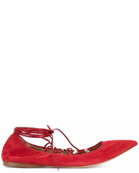 Ballerines en daim rouges Valentino