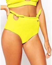 Bas de bikini découpé jaune Motel