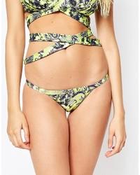 Bas de bikini imprimé léopard marron clair