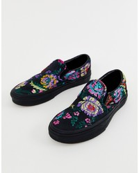 Baskets à enfiler à fleurs noires Vans