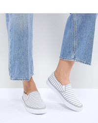 Baskets à enfiler à rayures horizontales grises ASOS DESIGN