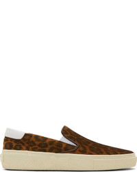 Baskets à enfiler en cuir imprimées léopard marron Saint Laurent