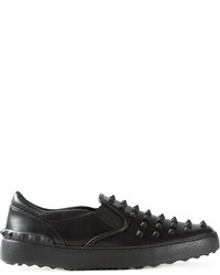 Baskets à enfiler en cuir noires Valentino Garavani