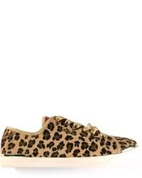 Baskets à enfiler imprimées léopard brunes claires DKNY