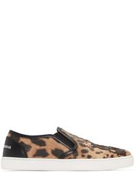 Baskets à enfiler imprimées léopard brunes claires Dolce & Gabbana