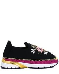 Baskets à enfiler ornées noires Dolce & Gabbana