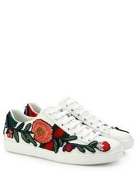 Baskets basses à fleurs blanches Gucci