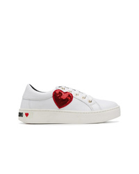 Baskets basses blanc et rouge Love Moschino