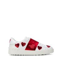 Baskets basses blanc et rouge Valentino