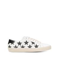 Baskets basses en cuir à étoiles blanches et noires Saint Laurent