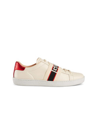 Baskets basses en cuir beiges Gucci