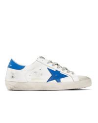 Baskets basses en cuir blanc et bleu