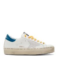 Baskets basses en cuir blanc et bleu Golden Goose