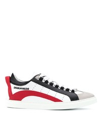 Baskets basses en cuir blanc et rouge DSQUARED2