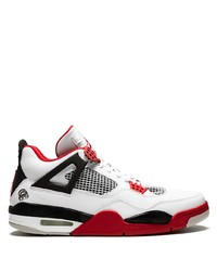 Baskets basses en cuir blanc et rouge Jordan