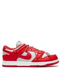 Baskets basses en cuir blanc et rouge Nike X Off-White