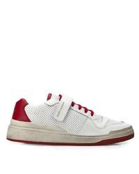 Baskets basses en cuir blanc et rouge Saint Laurent