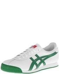 Baskets basses en cuir blanc et vert