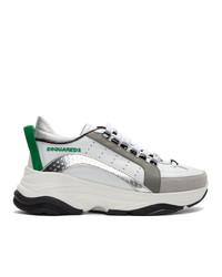 Baskets basses en cuir blanc et vert DSQUARED2