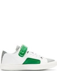 Baskets basses en cuir blanc et vert Pierre Hardy