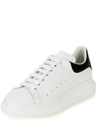 Baskets basses en cuir blanches et noires