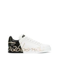 Baskets basses en cuir blanches et noires Dolce & Gabbana