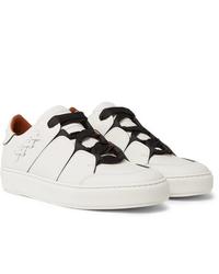 Baskets basses en cuir blanches et noires Ermenegildo Zegna