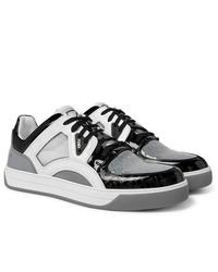 Baskets basses en cuir blanches et noires Fendi