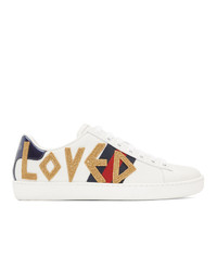 Baskets basses en cuir blanches Gucci
