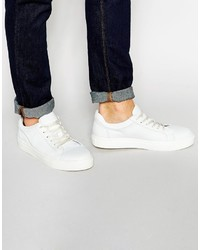 Baskets basses en cuir blanches Selected