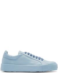 Baskets basses en cuir bleu clair Jil Sander