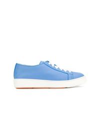 Baskets basses en cuir bleu clair Santoni