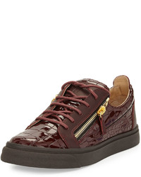 Baskets basses en cuir bordeaux