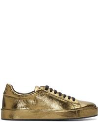 Baskets basses en cuir dorées Jil Sander