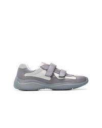 Baskets basses en cuir grises Prada
