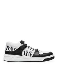 Baskets basses en cuir imprimées blanches et noires Balmain
